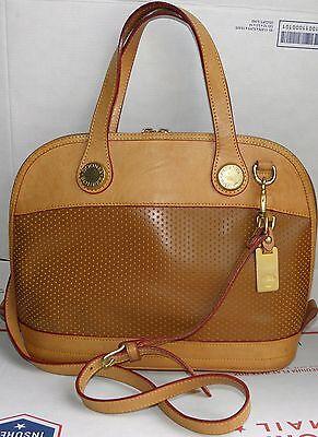 Cabrio Satchel (DOONEY & BOURKE Zip-Zip 2-Tone BROWN Perforated Leather Cabrio Satchel Handbag!)