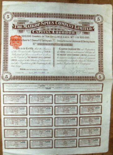 Russian-British Warrant to Bearer £5 Bond, Maikop Spies Petroleum Company 1910