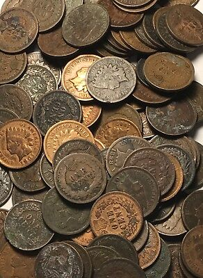 LOT OF 50 COINS (1 ROLL) AVERAGE CIRC Indian Head Cent Pennies FREE SHIPPING!