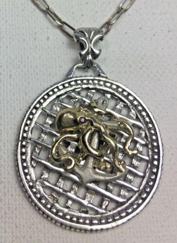 10 Karat Gold Octopus  sterling silver Anchor medallion