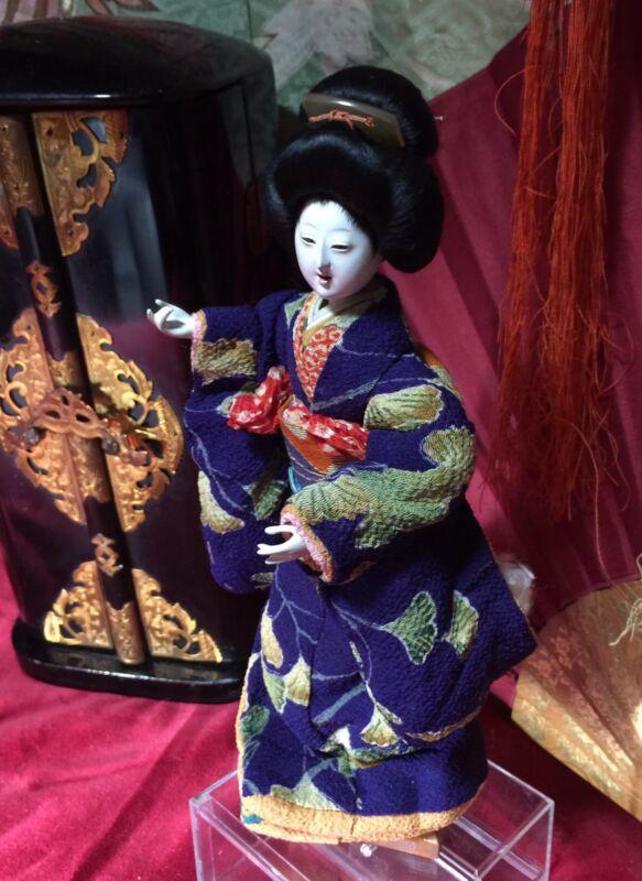 EXCEPTIONAL GEISHA*HI SHEEN GOFUN*KANZASHI*VIBRANT SILK KIMONO*OPEN MOUTH*OFFERS