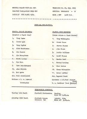 Crystal Palace v Swansea City Reserves Programme 16.3.1974
