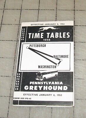 PENNSYLVANIA GREYHOUND (Jan 8, 1953 ) Pocket Folder Time Tables - Pittsburgh-DC