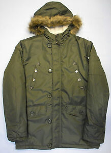 Adults Mens Parker Parka Style Jacket Long Coat Olive ...