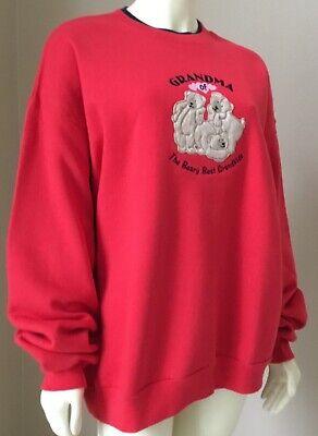 Plus Sz Red Grandma of the Beary Best Grandkids Teddy Bear Sweatshirt XL 1X 2X