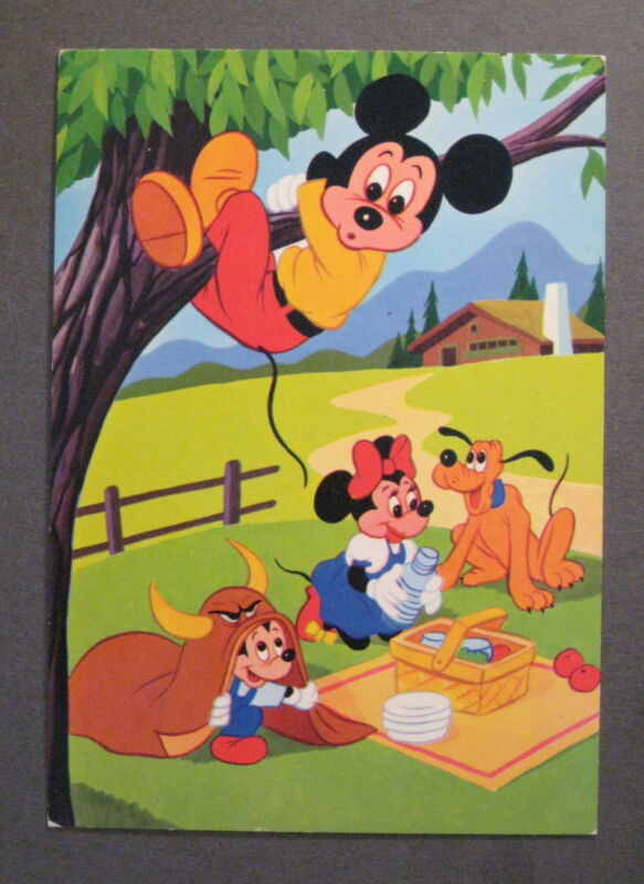 Vintage Disney Postcard -Mickey Mouse Picnic- Made in Italy *No Reserve*- (m559)