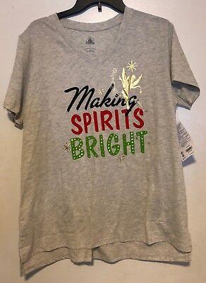 NWT Disney Store Womens Tinkerbell Making Spirits Bright Christmas T-shirt S - Spirit Stores