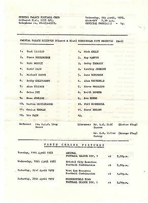 Crystal Palace v Birmingham City Reserves Programme 5.4.1972