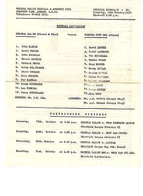 Crystal Palace v Swansea City Reserves Programme 10.10.1970