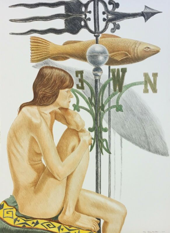 "Philip Pearlstein ""nude Model With Banner And Fish Weathervane"" Signed Print"