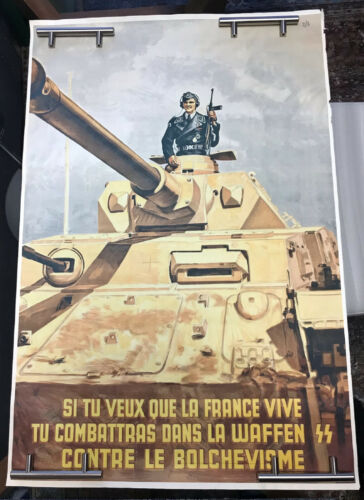 France WW-2, Recruiting Soldier, Waffen-Grenadier-Division,Very RARE Poster !