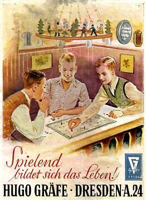Brettspiel Gräfe Dresden Farbreklame Winter 1944 !! Lampe aus Erzgebirge Werbung