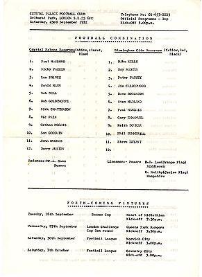 Crystal Palace v Birmingham City Reserves Programme 23.9.1972