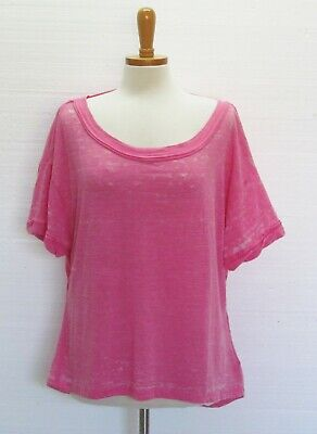 FREE PEOPLE New Hot Magenta Short Sleeve Open Back Top NWT M