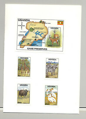 Uganda #637-641 Animals, Birds, Maps 4v & 1v S/S Imperf Proofs in Folder