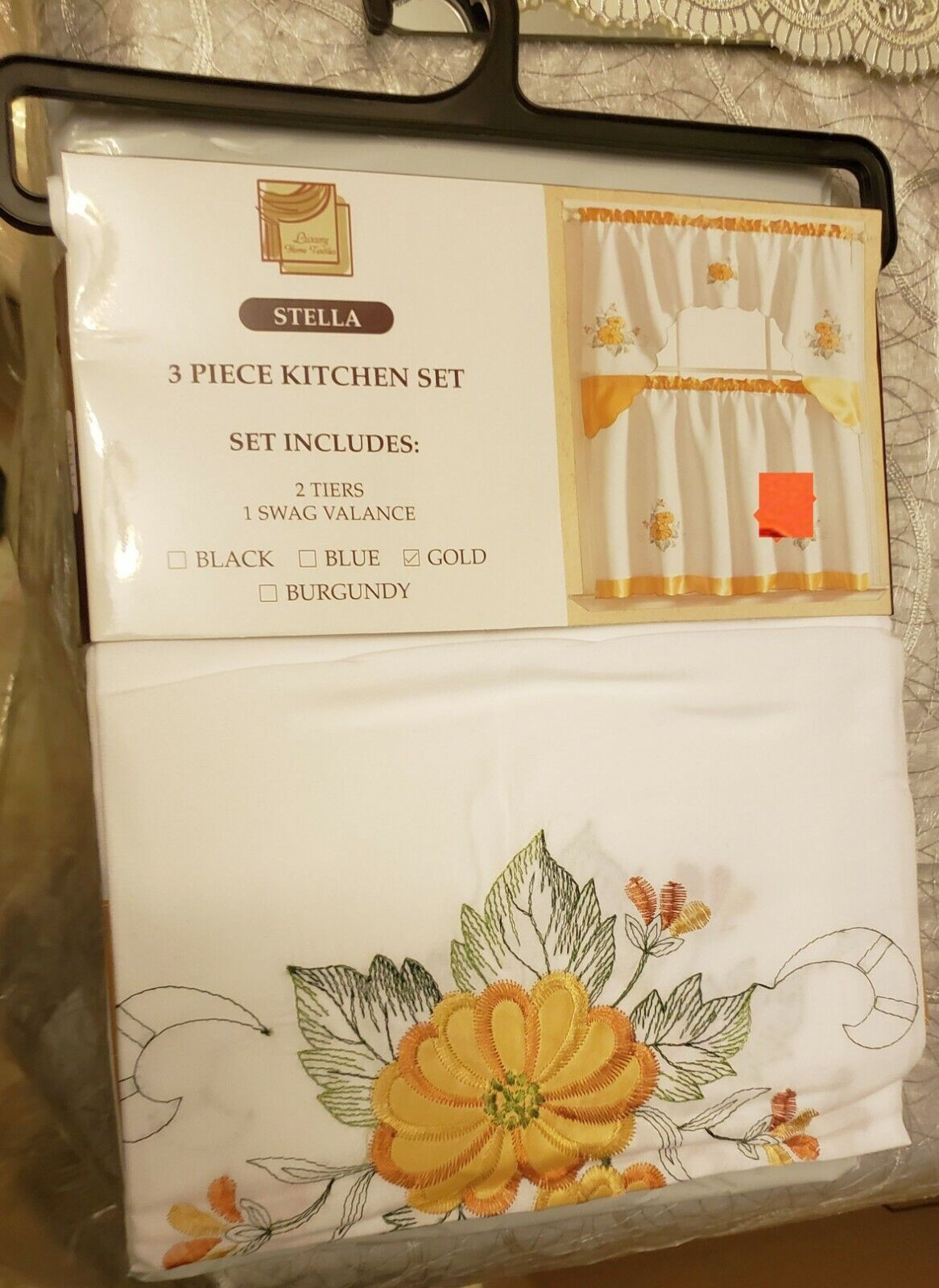 Kitchen Embroidered Curtains Set:2 Tiers & SwagYELLOW FLOWER