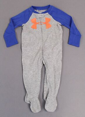 Under Armour Baby Boy L/S Footed Logo Full Zip One Piece DD5 Gray/Blue Size 3-6M