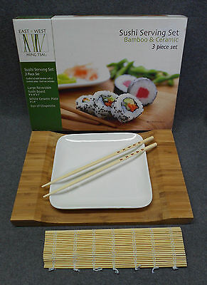 Tru Bamboo Sushi Serving Set   Ming Tsai East West   Board Plate Chopsticks Mat