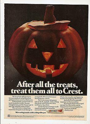 VTG 1977 CREST TOOTHPASTE Ad Unique DENTIST OFFICE Decor~HALOWEEN JACK-O-LANTERN