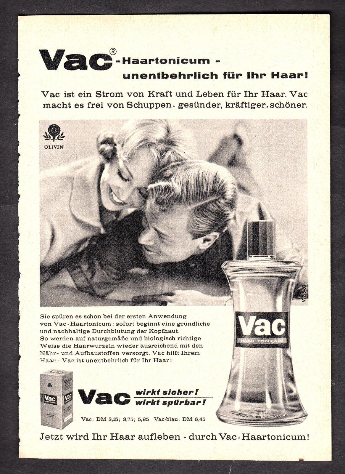 3w2286/ Alte Reklame von 1960 - VAC Haartonicum - Ihr Haar braucht es!