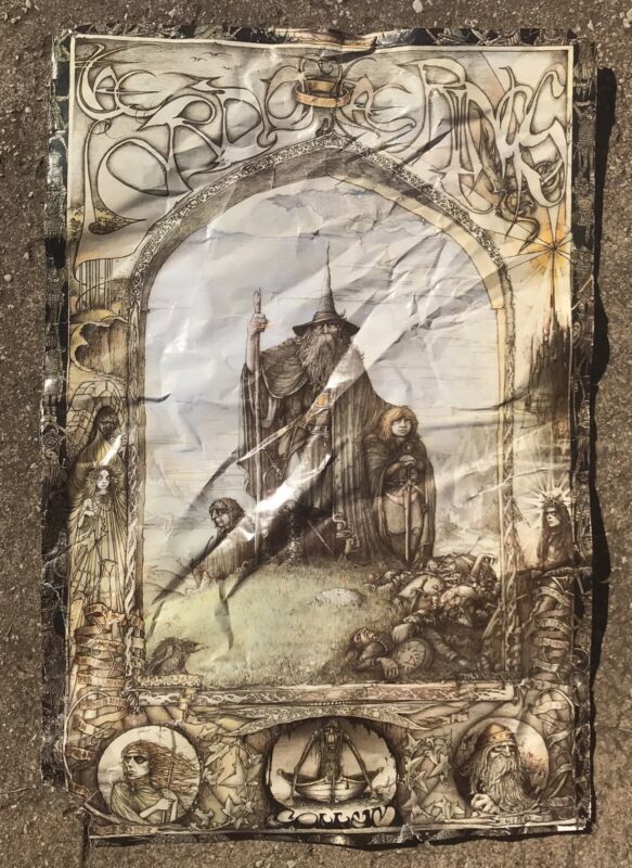 Vtg 90s Lord Of The Rings Gandalf Poster By Artist J. Cauty -- **AS-IS**
