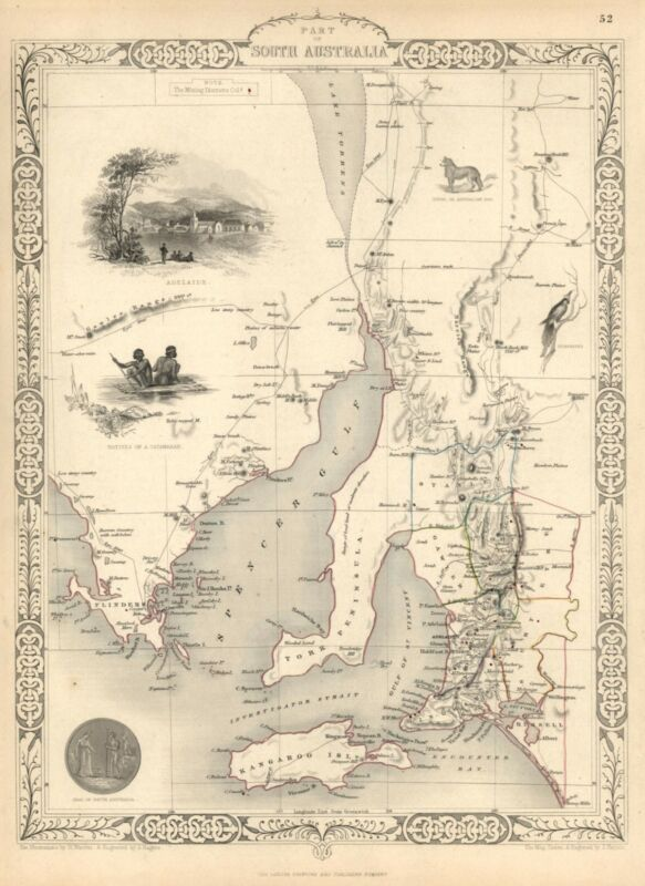 South Australia Adelaide Kangaroo Island Tallis 1851 decorative vignette map