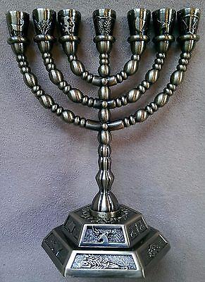 "7 Branch Hexagonal Base 12 Tribes of Israel Menorah in Antique Brass 5"""