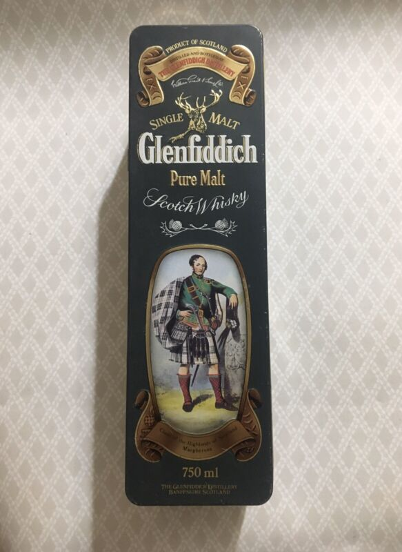 Glenfiddich Scotch Whiskey hinged tin box Barringer Wallis Manners liquor