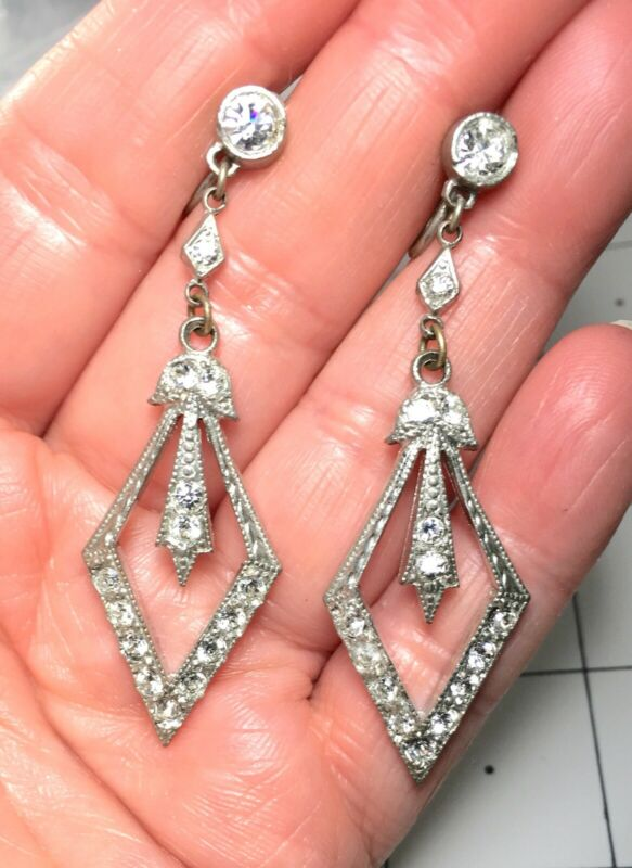 LOVELY ART DECO PASTE SET FAUX DIAMONDS LONG DANGLE EARRINGS