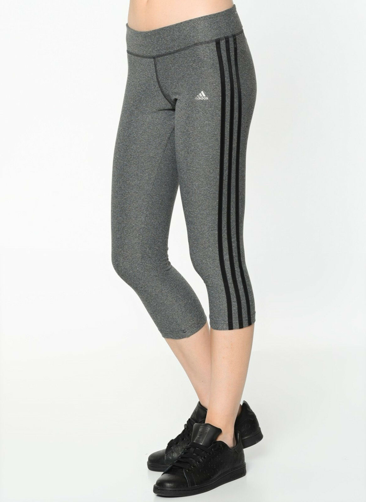 Women Adidas Ultimate 3/4 3 Stripe Tights Climalite Grey Wor