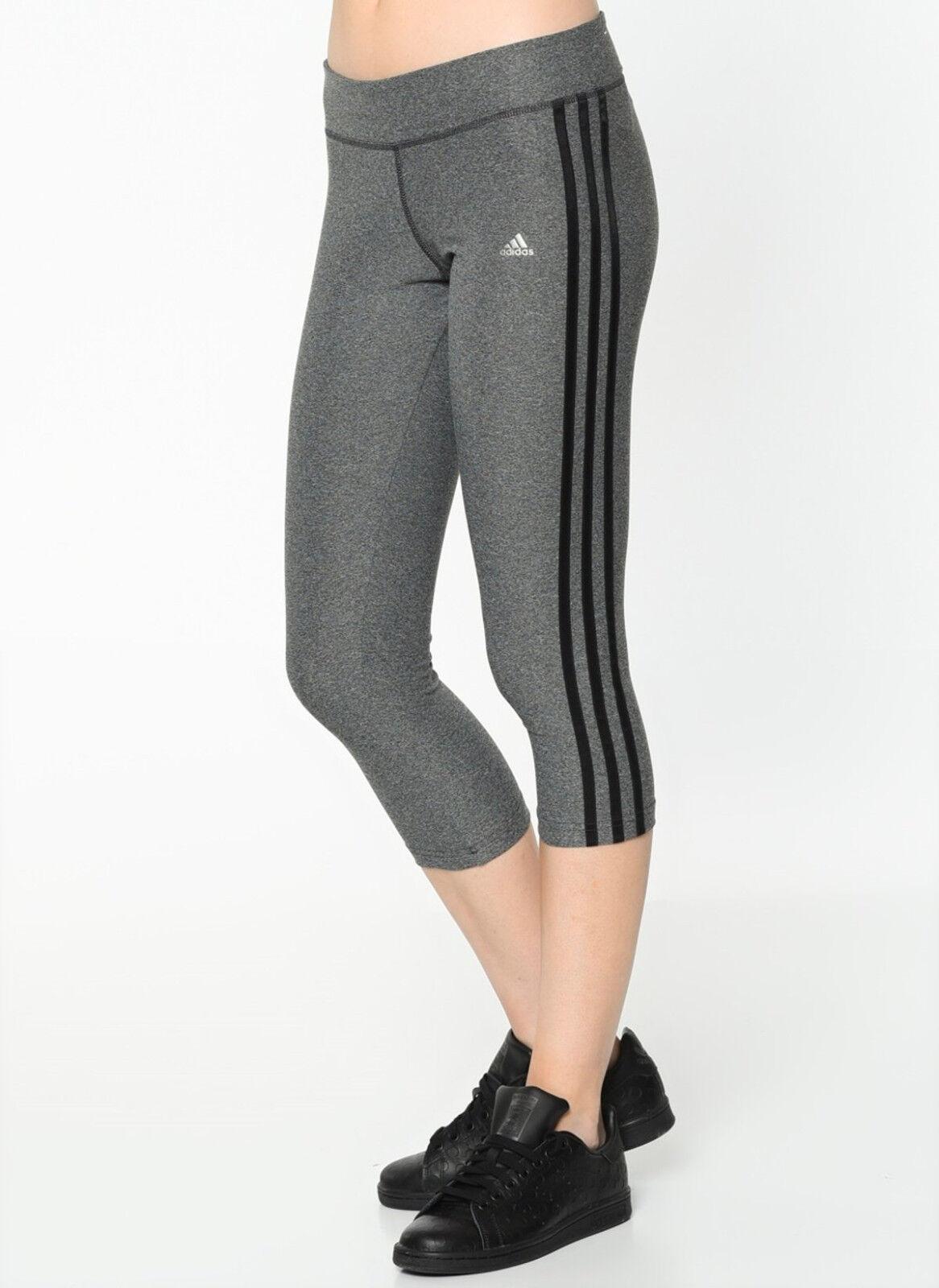 Women Adidas Ultimate 3/4 3 Stripe Tights Climalite Grey Wor