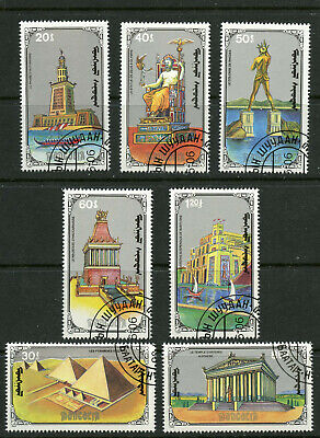 Seven Wonders of the Ancient World CTO Set of 7 Stamps 1990 Mongolia #1888-94