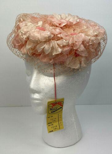Vintage Womens Ladies Pink Millinery Flower Hat w/ Velvet Silk Pears & Netting