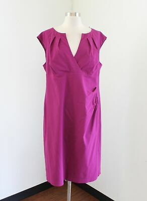 Adrianna Papell Deep Pink Solid Split Neck Dress Size 18W Cocktail Evening