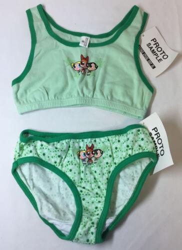 2000 POWERPUFF GIRLS prototype/sample girls bra+panties ~ green trio ~ M