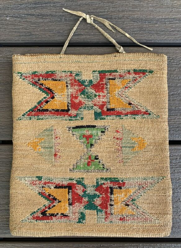 Antique 1890s-1920s NEZ PERCE CORNHUSK Bag 10 X 9 Basket Native American