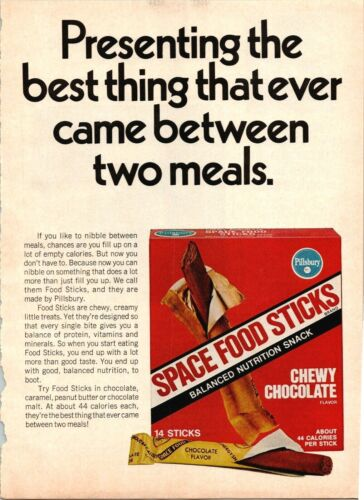 Space Food Sticks Snack Pillsbury Chewy Chocolate 1971 Vintage Print Ad