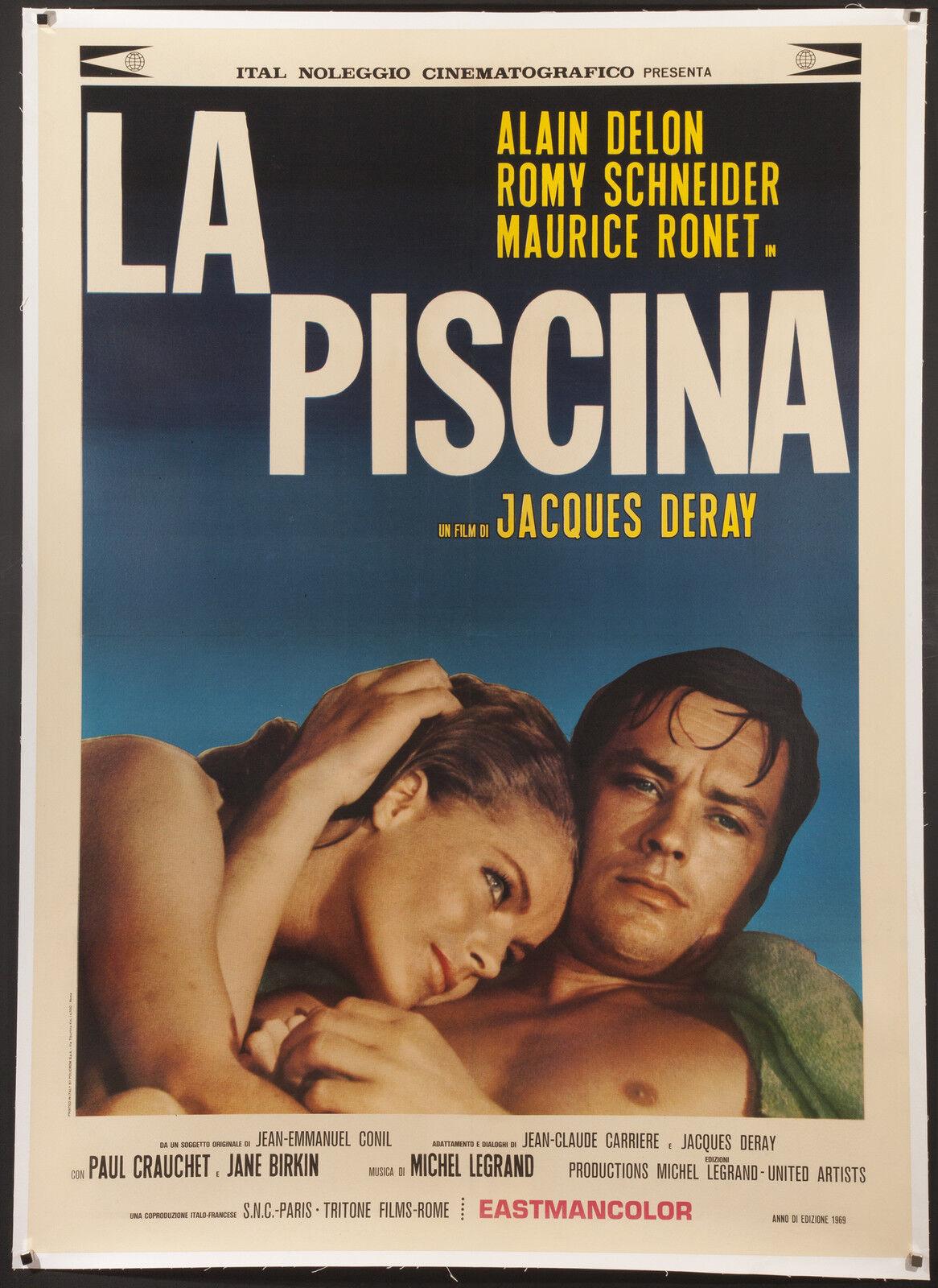 """La piscine 1969 italian 39""""x55"""" linen-backed poster alain delon romy schneider"""