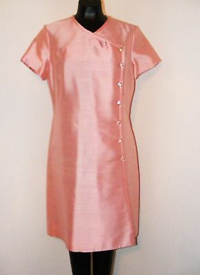 Vintage 1960s Pink Dress w/ Pink Rhinestone Buttons by Parues Feinstein in sz 10