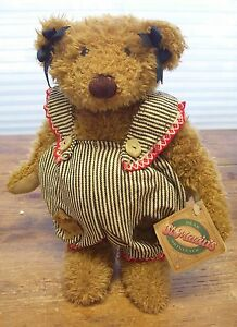 Lonnie-St-Martins-Marcy-Brown-Teddy-Bear-Engineer-Bib-Overall-New-Plush-Stuffed