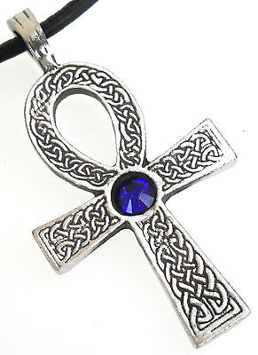 Pewter Ankh Egypt Cross Austrian Crystal Birthstone September Sapphire Pendant