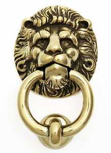 Large Brass Lion 39 S Head Ring Knocker Traditional Antique