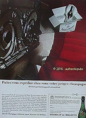 PUBLICITE BESSERAT DE BELLEFON CHAMPAGNE CREMANT DE 1968 FRENCH AD PUB VINTAGE