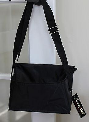 lunch tote insulated black adjustable strap designer
