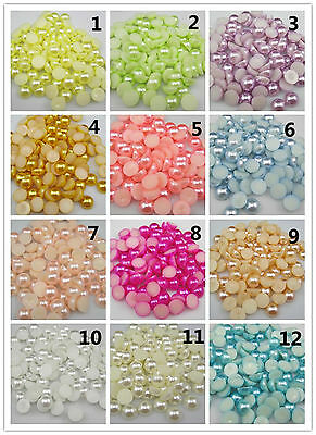 New 4/6/8MM Half Round Pearl Bead Flat Back Scrapbook For Craft 18 Colors Pick (Half Round Bead)
