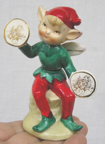 Vintage Christmas Holiday Pixie with Cymbals Red Green Suit Japan 1950s