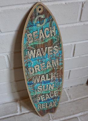 TEAL BLUE WOOD SURFBOARD SIGN Tropical Island Coastal Beach Surfing Home Decor  - Surfboard Decoration