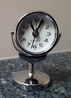 Chrome Colour Miniature Table Alarm Quartz Clock