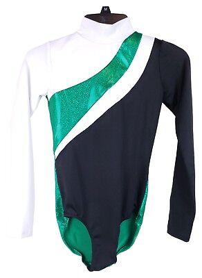 Black/White/Green Shiny Leo Dance Cheer Gymnastics Costume - Women's Child 14