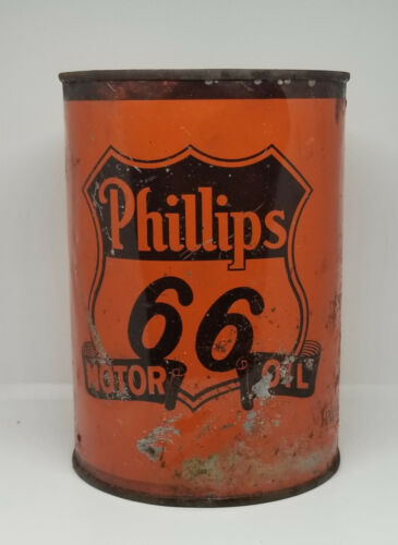 1930s ORANGE PHILLIPS 66 SIXTY-SIX ONE QUART MOTOR OIL CAN BARTLESVILLE OKLAHOMA